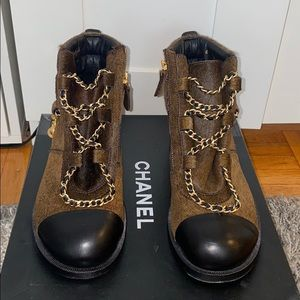 Chanel brown pony hair ankle boots booties